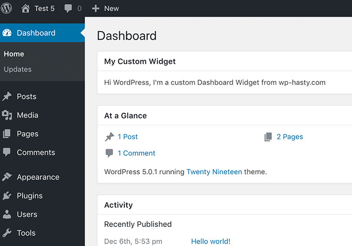 Custom Dashboard widget demo screenshot