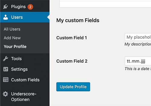 WordPress Custom User Profile Fields Generator